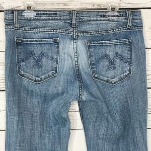 Vigoss Jeans Distress Embroidered Mid-Rise Bootcut